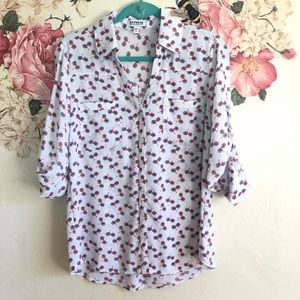 Express Bicycle Print Portfolio blouse size medium